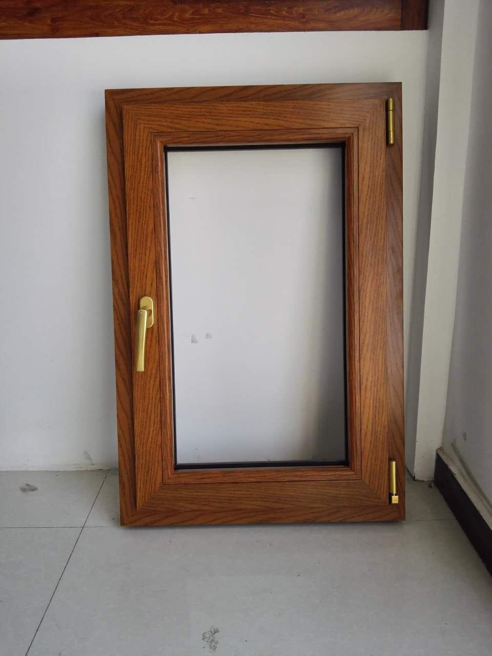 【任丘市亚联铝材】样品窗  木纹转印平开窗型材